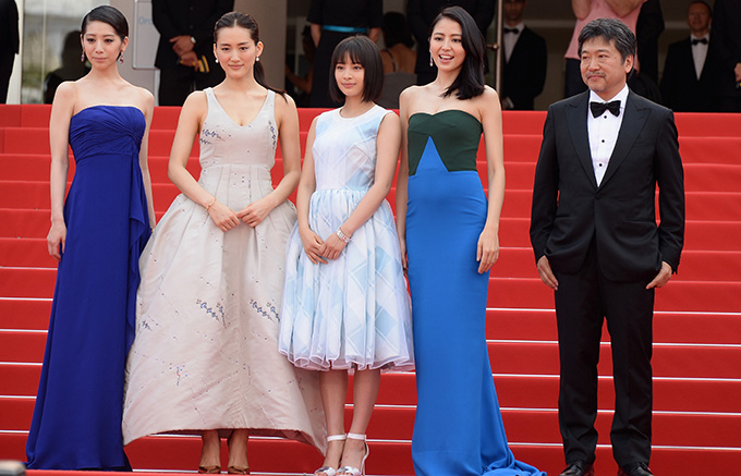 "CANNES, FRANCE - MAY 14:  (L-R) Actresses Kaho, Haruka Ayase, Suzu Hirose, Masami Nagasawa, and director Hirokazu Koreeda attend the ""Umimachi Diary"" (""Our Little Sister"") photocall during the 68th annual Cannes Film Festival on May 14, 2015 in Cannes, France.  (Photo by Dominique Charriau/WireImage)"
