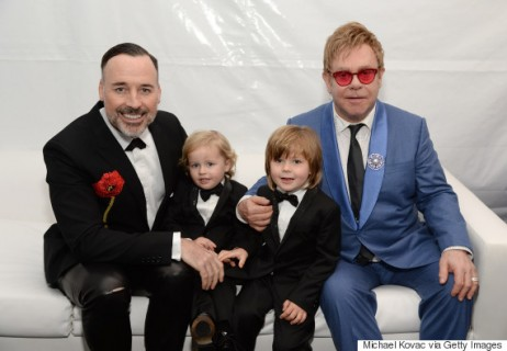 LOS ANGELES, CA - FEBRUARY 22:  (L-R) David Furnish, Elijah Furnish-John, Zachary Furnish-John, and Sir Elton John attend the 23rd Annual Elton John AIDS Foundation Academy Awards Viewing Party on February 22, 2015 in Los Angeles, California.  (Photo by Michael Kovac/Getty Images for EJAF)