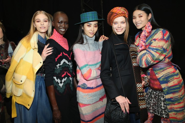 NEW YORK, NY - FEBRUARY 11:  Models pose backstage at Desigual fashion show during Fall 2016 New York Fashion Week: The Shows at The Arc, Skylight at Moynihan Station on February 11, 2016 in New York City.  (Photo by Monica Schipper/Getty Images for Desigual)