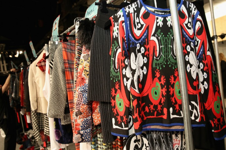 NEW YORK, NY - FEBRUARY 11:  A detail shot of the collection backstage at Desigual fashion show during Fall 2016 New York Fashion Week: The Shows at The Arc, Skylight at Moynihan Station on February 11, 2016 in New York City.  (Photo by Monica Schipper/Getty Images for Desigual)